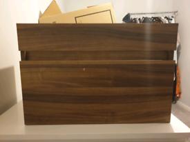 Walnut vanity unit with mid edge basin - wall hung - New in box