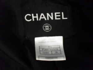 Authentic CHANEL Black Double Breasted Trench coat, Size 38