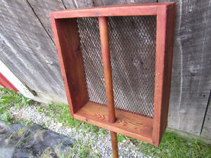 antique primive farm sifter/ veggie washer refinished for decor