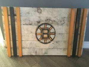 Rustic Wood Flag Boston Bruins, Maple Leafs Sports Teams