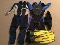FREE!! Mens 3mm & 5mm wetsuits, fins and boots