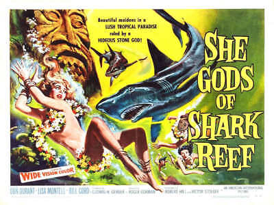 1958 SHE GODS OF SHARK REEF VINTAGE MOVIE POSTER PRINT STYLE B 18x24