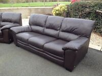 3 and 2 Brown Leather Sofas