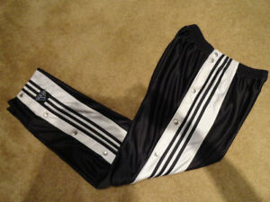 Adidas Black White Stripes Basketball Tearaway Pants Vintage M