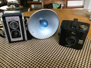 Two Vintage Cameras for Collectors or as Decor Items
