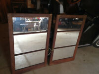 NEW PRICE! Antique Oak Hutch Mirrored Doors $150