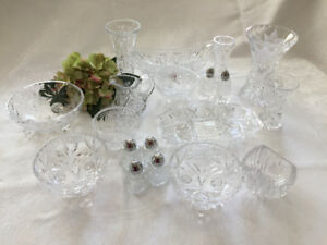 SPARKLING LEAD CRYSTAL SERVING PIECES