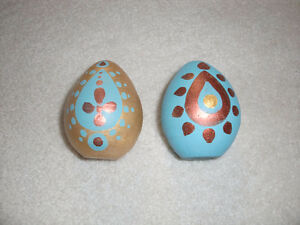 UNIQUE HAND PAINTED CLAY EASTER EGGS- BLUE AND ROSE GOLD