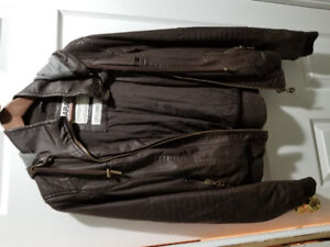 Chocolate brown faux leather bomber jacket with hood, Large