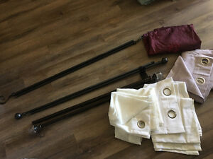 4 sets of curtains and rods for sale