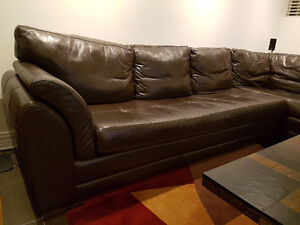 LEATHER CUIR COUCH BROWN SECTIONAL FOR SALE