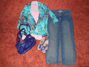 Like new outfit Jean skirt tank, Sweater, Purple purse & Sandals