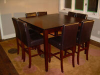 Dining room 3' tall table w/extention set 6-8 chairs 4.5' square