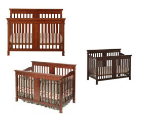 Crib for baby, Newborn cot, Dark brown, converts to double bed