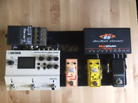 Full pedalboard and effects pedals