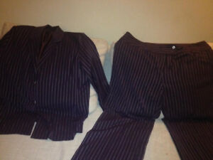 Pant and jacket for women purple color  with stripes