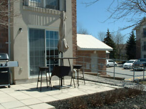 Patio set by canvas 2 stools a table umbrella and base