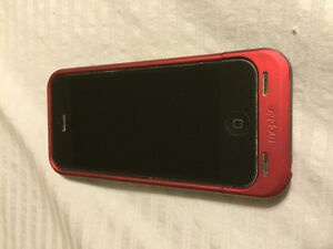 iPhone 5s with Mophie charging case.