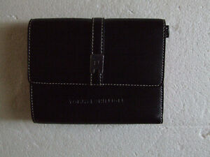 Tommy Hilfiger black leather red lining trifold wallet NEW
