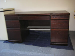 Double Pedestal Desk and Hutch