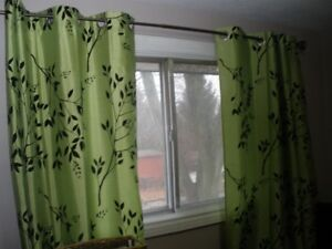 LIME GREEN CURTAINS WITH BLACK FLORAL ACCENT
