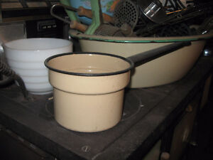 Antique Enamelware Cream Pot / Saucepan with black trim