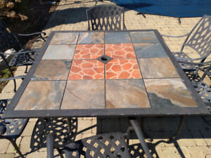 Wrought Iron & Ceramic Patio Table & 4 Chairs