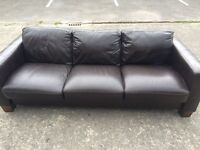 Modern Italian leather large 3 seater sofa