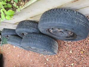Winter Tires Set of 5 ON RIMS from 2006 Grand Caravan 275 Cambridge Kitchener Area image 3