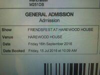 2x tickets FRIENDSFEST @ HAREWOOD HOUSE