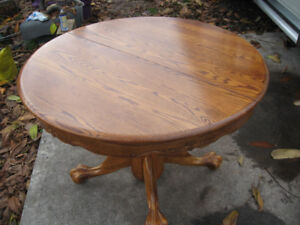 Solid Oak Kitchen Table and 4 Presback Chairs with 24 inch Leaf