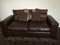 3 seater sofa cushioned faux leather brown