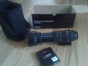 Sigma 50-500 mm Canon-mount Lens with Sigma 95 mm clear filter