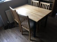 Beech dining set - table plus 4 chairs - solid wood