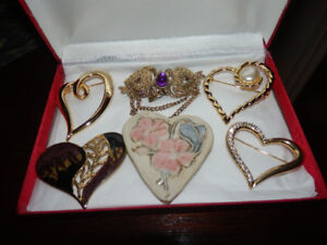 6 HEART SHAPE BROACHES