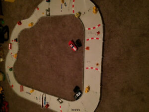 Race car track with 2 remote control cars