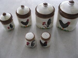 CANISTER SET AND ROOSTERS
