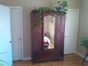 Wooden mirrored Armoire