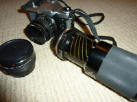 35mm Camera, lenses & bag
