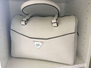 GUESS Box Satchel Purse in White