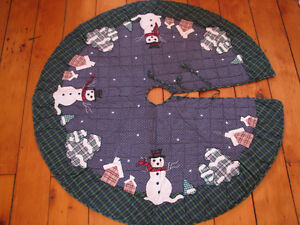 Primitive Snowman Christmas Treeskirt, Brand New Patchwork Quilt Kitchener / Waterloo Kitchener Area image 1