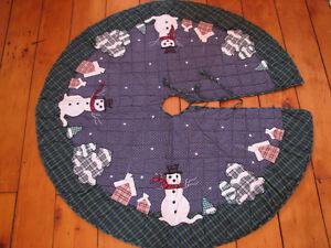 Primitive Snowman Christmas Treeskirt, Brand New Patchwork Quilt