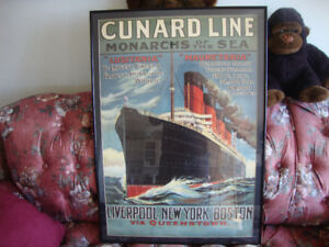 Cunard Line and French Line Framed Posters