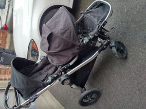 Like NEW Baby Jogger City Select Double Stroller with Car seat a