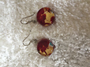 Brand new silver and Murano glass earrings