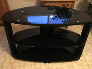 Metal and glass TV stand