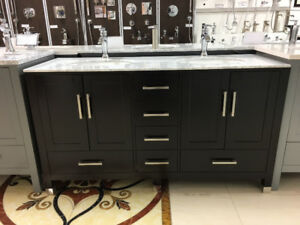 "60"" Espresso Double Sink Bathroom Vanity"