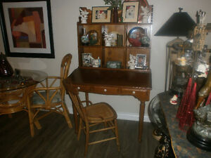 desk with display shelves distressed pine, cane chair