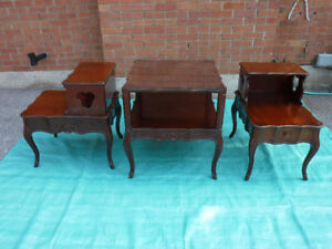 3 solid Cherry tables, Canadian made Baetz Bros, 2 tier 24L x 18