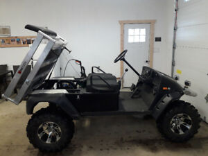 """Custom carry all golf cart with 6"""" lift and dump box"""